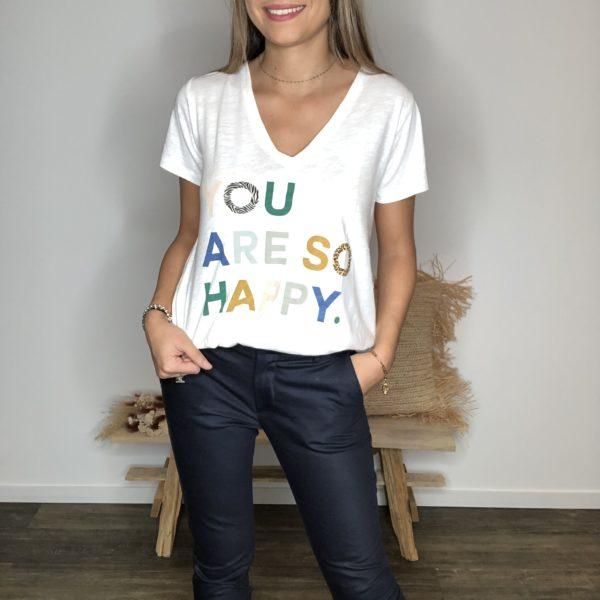 Tee-shirt blanc - Happy